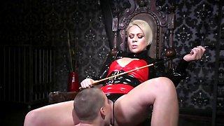 Blonde cougar dominates natural slave using favorite strapon