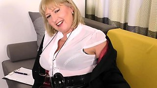 British curvy housewife Lorna Blu showing off her big tits