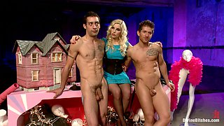 Hot Blonde Mistress Has Fun With Two Slaves