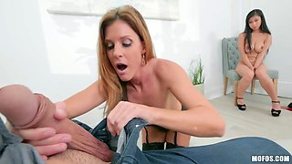 Lady boss India Summer and her Asian assistant Jade Kush share one cock in the office