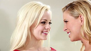 Two blonde women get it on with a dude in the bedroom