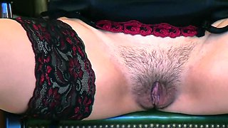 Solo lingerie beauty shows her hot cunt in close up