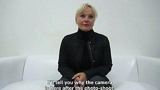 Blonde mature whore interviewed before hardcore fucking